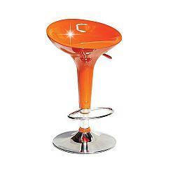 TEMPO KONDELA Barová stolička, oranžová plast/chróm, INGE NOVA