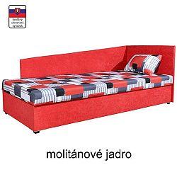 TEMPO KONDELA Celočalúnená váľanda s molitánovým matracom, pravá, červená/vzor, EDVIN 4 LUX