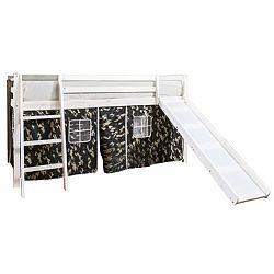 TEMPO KONDELA Detská posteľ so šmykľavkou, borovicové drevo biela, VERDI