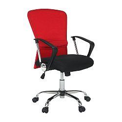 TEMPO KONDELA Kancelárske kreslo, červená/čierna, AEX