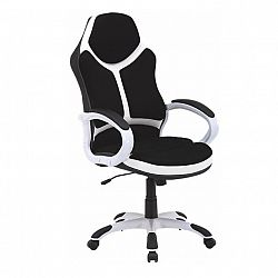 TEMPO KONDELA Kancelárske kreslo, ekokoža biela/čierna, ARETAS