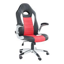 TEMPO KONDELA Kancelárske kreslo, ekokoža čierna/červená, MARVIN