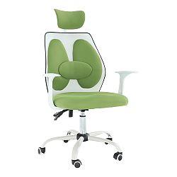 TEMPO KONDELA Kancelárske kreslo s opierkou hlavy, zelená/biela, BENNO UT-C568X