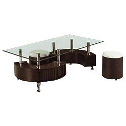 TEMPO KONDELA Konferenčný stolík, 2 taburetky, ekokoža biela/orech, OTELO