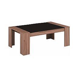 TEMPO KONDELA Konferenčný stolík, orech/čierne sklo, RAYMOND
