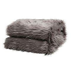 TEMPO KONDELA Kožušinová deka, sivá, 150x180, EBONA TYP 5