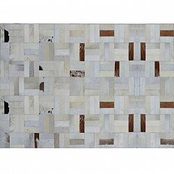 TEMPO KONDELA Luxusný kožený koberec, biela/sivá/hnedá, patchwork, 170x240, KOŽA typ 1