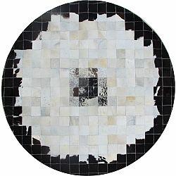TEMPO KONDELA Luxusný kožený koberec, čierna/béžová/biela, patchwork, 150x150, KOŽA TYP 9
