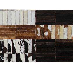 TEMPO KONDELA Luxusný kožený koberec, čierna/hnedá/biela, patchwork, 171x240, KOŽA TYP 4