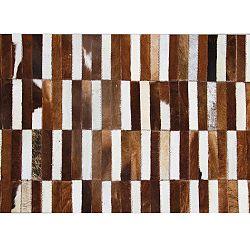 TEMPO KONDELA Luxusný kožený koberec, hnedá/biela, patchwork, 171x240, KOŽA TYP 5