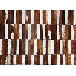 TEMPO KONDELA Luxusný kožený koberec, hnedá/biela, patchwork, 69x140, KOŽA TYP 5