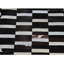 TEMPO KONDELA Luxusný kožený koberec,  hnedá/čierna/biela, patchwork, 120x180, KOŽA TYP 6