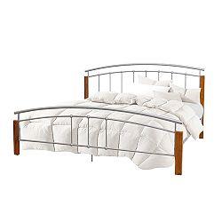 TEMPO KONDELA Manželská posteľ, drevo jelša/strieborný kov, 160x200, MIRELA