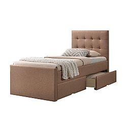 TEMPO KONDELA Moderná posteľ, svetlohnedá, 90x200, VISKA