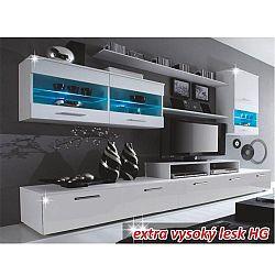 TEMPO KONDELA Obývacia stena, biela/biela extra vysoký lesk HG, LEO