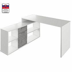 TEMPO KONDELA PC stôl, biela/betón, NOE NEW