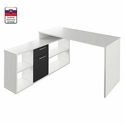 TEMPO KONDELA PC stôl, biela/čierna, NOE NEW