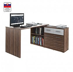 TEMPO KONDELA PC stolík, slivka/biela, RAFAEL NEW