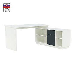 TEMPO KONDELA Písací stôl, biela/sivá, DALTON NEW VE 02