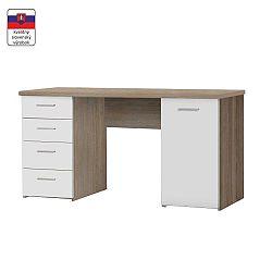 TEMPO KONDELA Písací stôl, dub sonoma/biela, EUSTACH