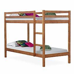 TEMPO KONDELA Poschodová posteľ, borovicové drevo svetlohnedá, VERSO