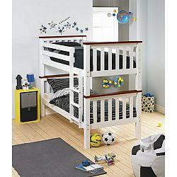 TEMPO KONDELA Poschodová rozložiteľná posteľ, biela/hnedá, ROWAN