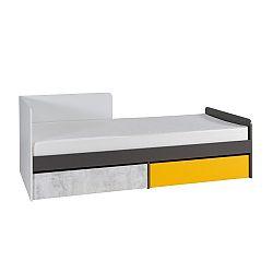 TEMPO KONDELA Posteľ s úložným priestorom B7, biela/sivý grafit/enigma/žltá, MATEL
