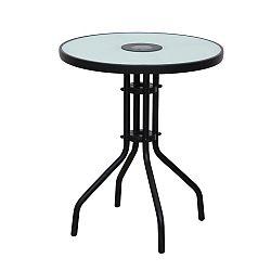 TEMPO KONDELA Stôl, čierna oceľ/tvrdené sklo, OLIVAN