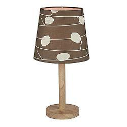 TEMPO KONDELA Stolná lampa, drevo/látka vzor listy, QENNY TYP 6 LT6026