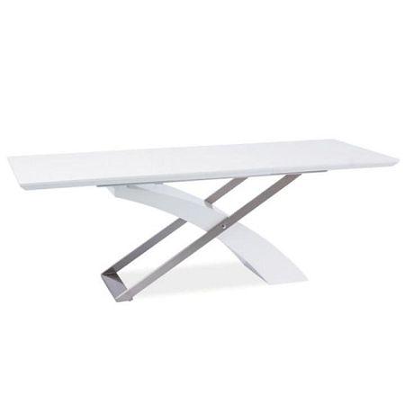 TEMPO KONDELA Jedálenský stôl, biela/biela extra vysoký lesk HG, KROS