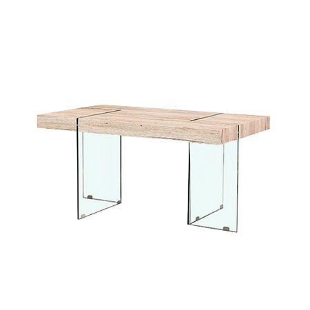 TEMPO KONDELA Jedálenský stôl, MDF/ tvrdené sklo, PASKAL