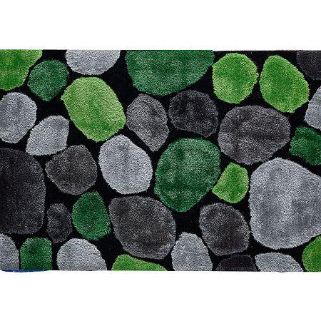TEMPO KONDELA Koberec, zelená/sivá/čierna, 80x150, PEBBLE TYP 1