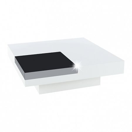 TEMPO KONDELA Konferenčný stolík, biela extra vysoký lesk HG/čierna lesk, ELIOT