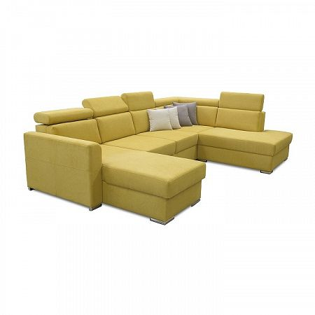 TEMPO KONDELA Luxusná sedacia súprava, žltá/hnedé vankúšiky, pravá, MARIETA U