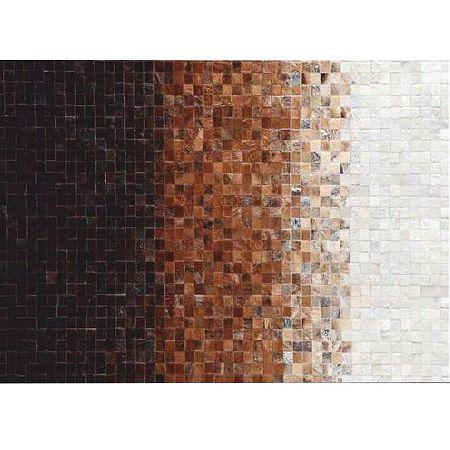 TEMPO KONDELA Luxusný kožený koberec, biela/hnedá/čierna, patchwork, 170x240, KOŽA TYP 7