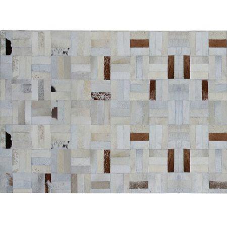 TEMPO KONDELA Luxusný kožený koberec, biela/sivá/hnedá, patchwork, 70x140, KOŽA TYP 1