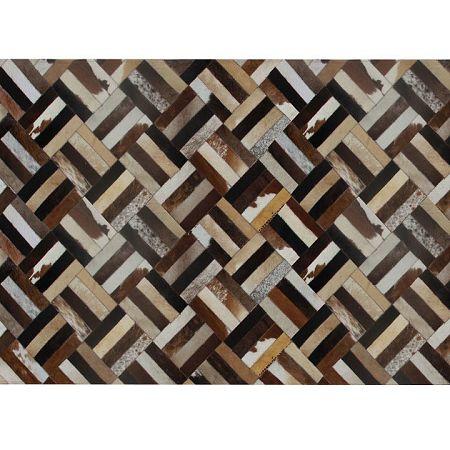 TEMPO KONDELA Luxusný kožený koberec, hnedá/čierna/béžová, patchwork, 200x300 , KOŽA TYP 2