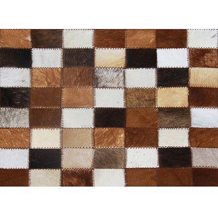 TEMPO KONDELA Luxusný kožený koberec,  hnedá/čierna/biela, patchwork, 168x240, KOŽA TYP 3