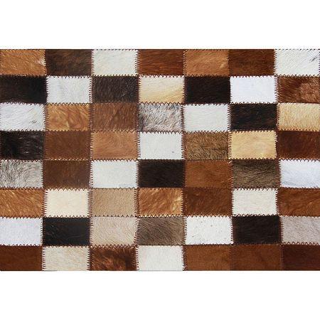 TEMPO KONDELA Luxusný kožený koberec, hnedá/čierna/biela, patchwork, 80x144, KOŽA TYP 3