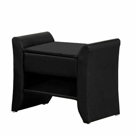 TEMPO KONDELA Nočný stolík, čierna ekokoža, BOLTON
