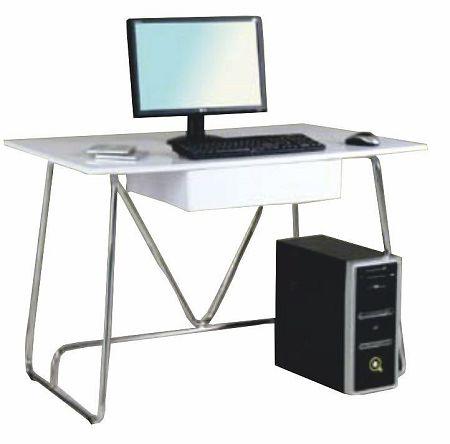 TEMPO KONDELA PC stôl, biela/extra vysoký lesk, EDGAR