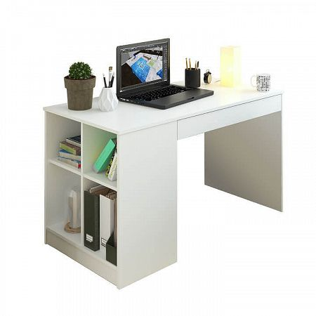 TEMPO KONDELA PC stôl, biela, VENDI