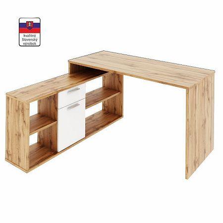 TEMPO KONDELA PC stôl, dub wotan/biela, NOE NEW