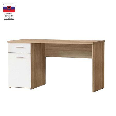 TEMPO KONDELA Písací stôl, dub sonoma/biely, EGON