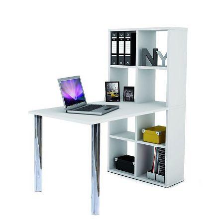 TEMPO KONDELA Písací stôl s regálom, biely, BEXINTON