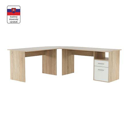 TEMPO KONDELA Rohový PC stôl, dub sonoma/biela, MAURUS NEW MA11